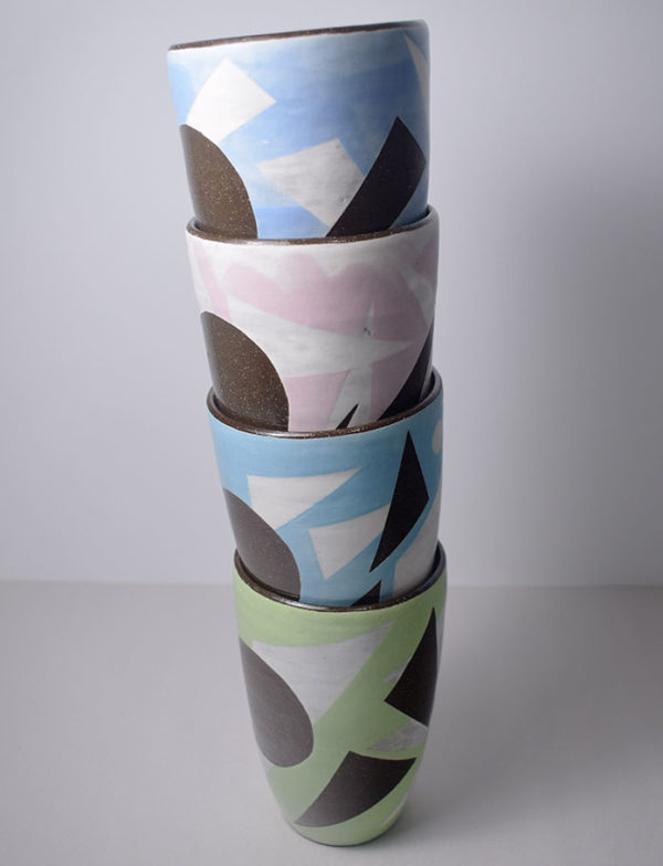 Stacked ceramic tumblers