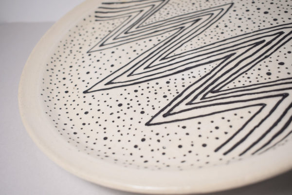 Decorated ceramic plate