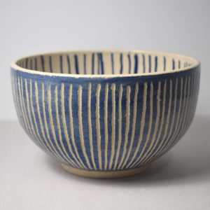 Ceramic bowl with blue decoration