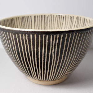 Black and white ceramic bowl