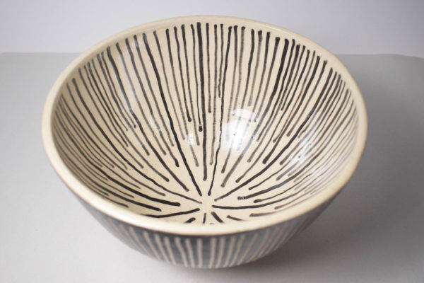 Black and white decorated ceramic bowl