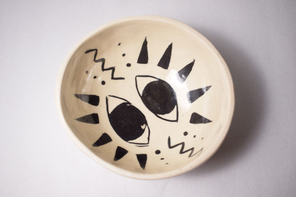 Decorated pinch pot bowl