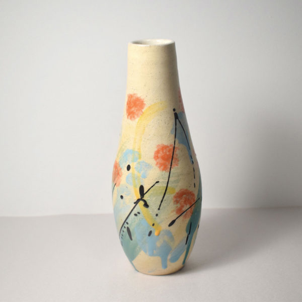 Ceramic vase with abstract floral design