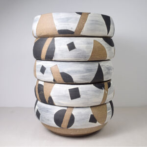 Stack of five stoneware bowls