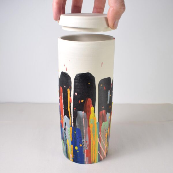 Tall porcelain colorful painted lidded jar