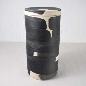 Painted Black and white ceramic jar